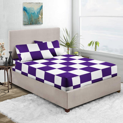 Purple - White Chex Fitted Sheets