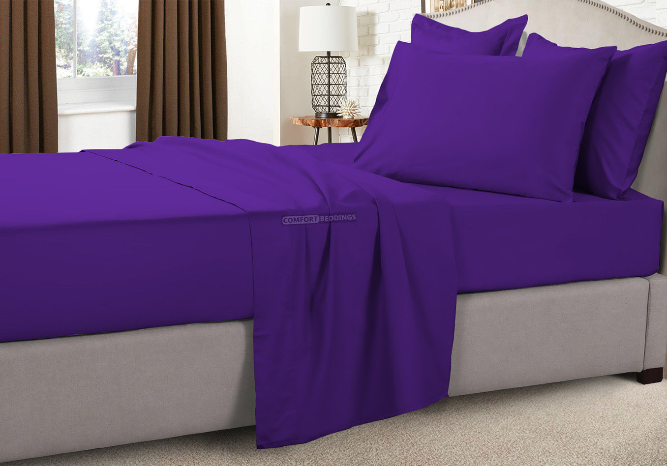 Luxury 600TC Purple Short Queen Sheets