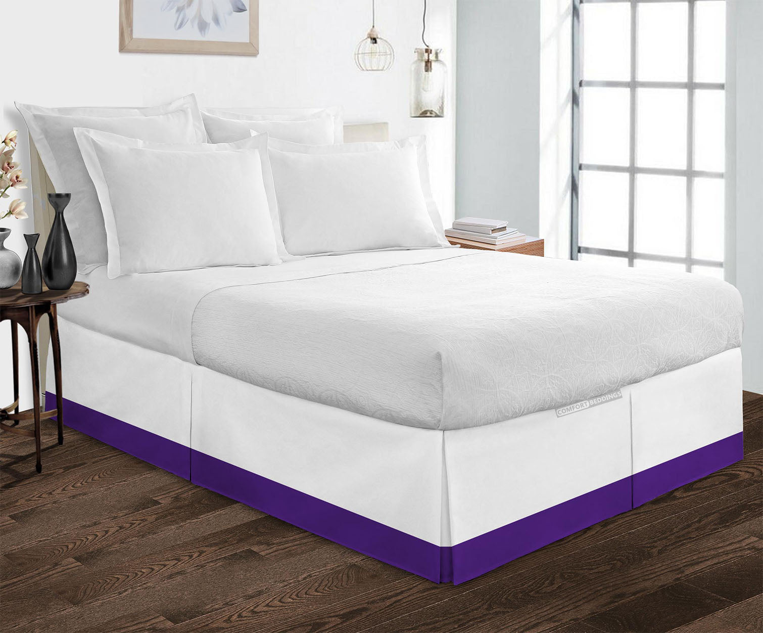 High Quality two tone Purple bed skirt