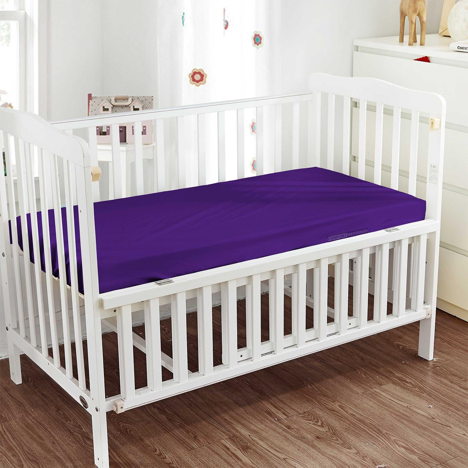 600TC Purple Fitted Crib Sheets