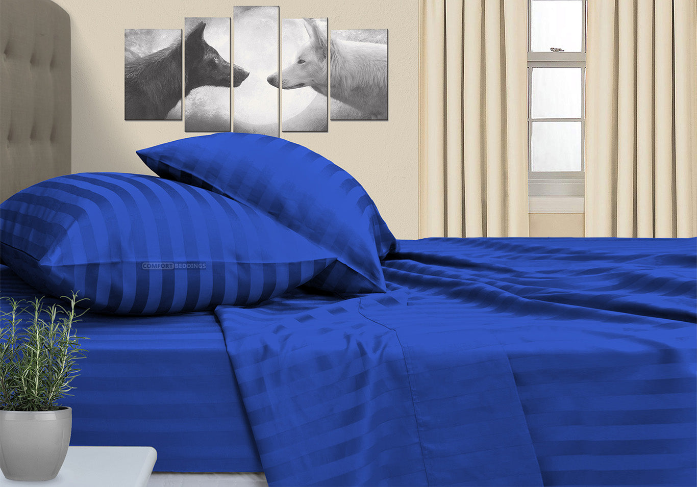 Luxurious Royal Blue Striped RV Sheet Set
