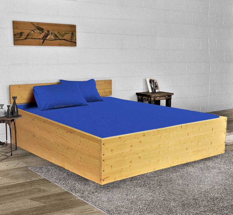 Luxury 600TC Royal Blue Stripe Waterbed Sheets