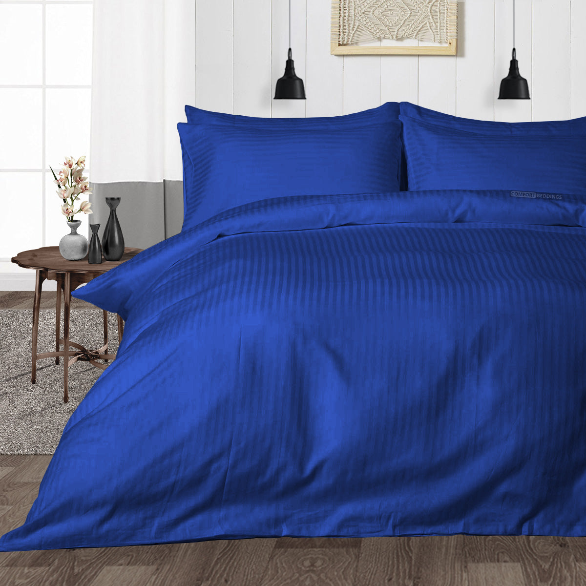 Luxurious Royal Blue Striped Duvet Cover - 600TC