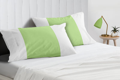 Soft Luxurious Sage - white contrast pillowcases