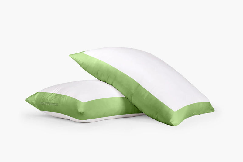 Soft Cotton Sage - White Two Tone Pillow Cases