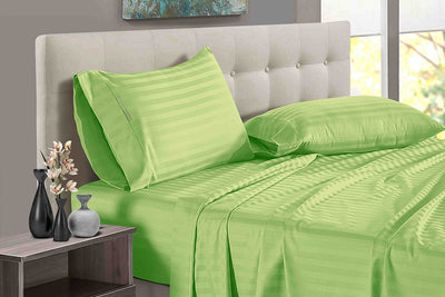 Adjustable Sage Stripe Split Bed Sheets
