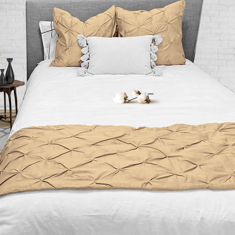 Top Rated Taupe Pinch Bed Runner Set