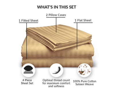 Classy Taupe Striped King Sheet Set