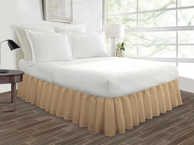 Egyptian Cotton Made Taupe Ruffled Bed Skirt