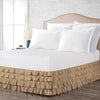 Essential Taupe waterfall ruffled bed skirt