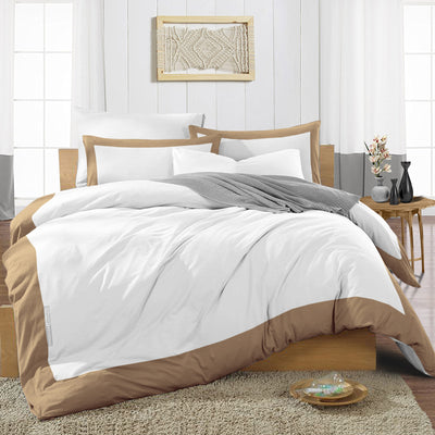 Most Selling Taupe Two Tone Duvet Cover