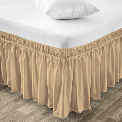 Classy Taupe Wrap Around bed skirt