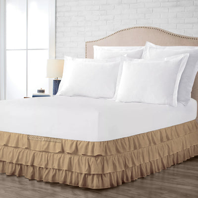 Ultra Soft Taupe Multi Ruffled Bed Skirt