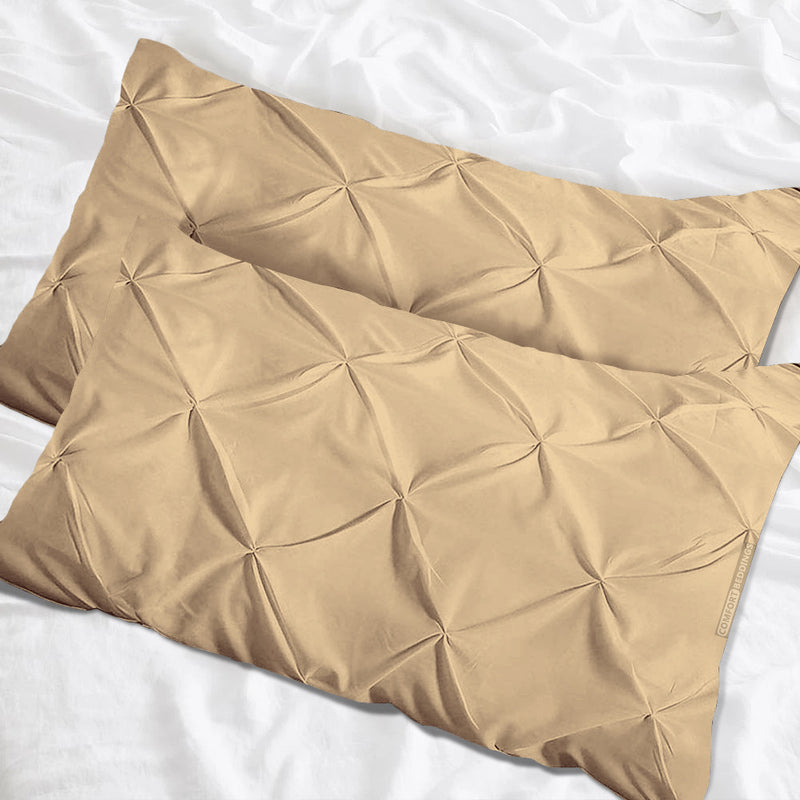 Soft Egyptian cotton Taupe pinch Pillow Cases