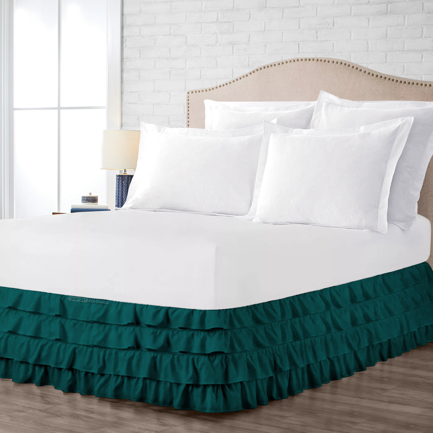 Egyptian cotton made Teal waterfall ruffled bed skirt