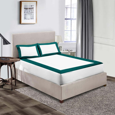 Top Quality Teal - White two tone fitted sheets