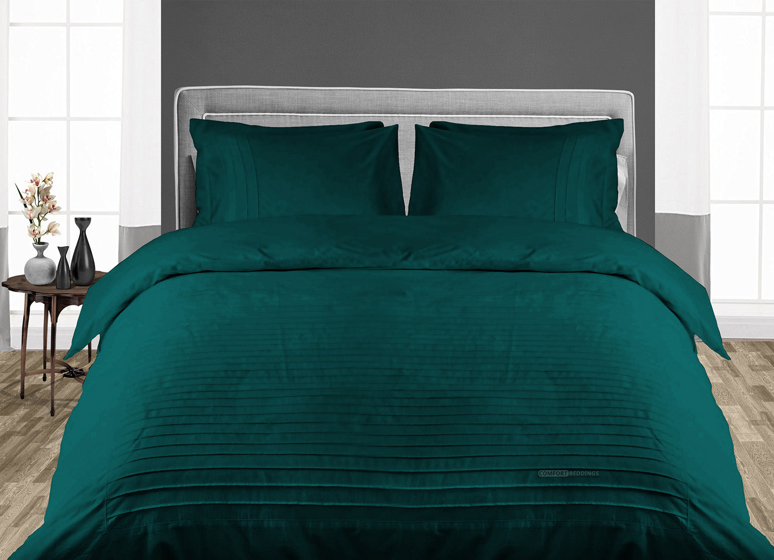 Elegant Teal Moroccan Streak Duvet Cover And Pillowcases