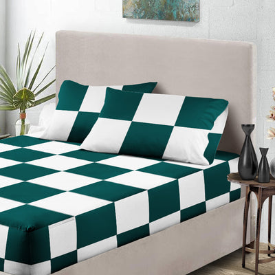 Teal with White Chex Fitted Sheet