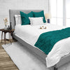 Delightful 1000TC Teal Pinch Bed Runner Set