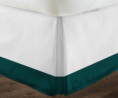 Egyptian cotton Teal two tone bed skirt