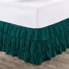 Luxury Teal Multi Ruffled Bed Skirt