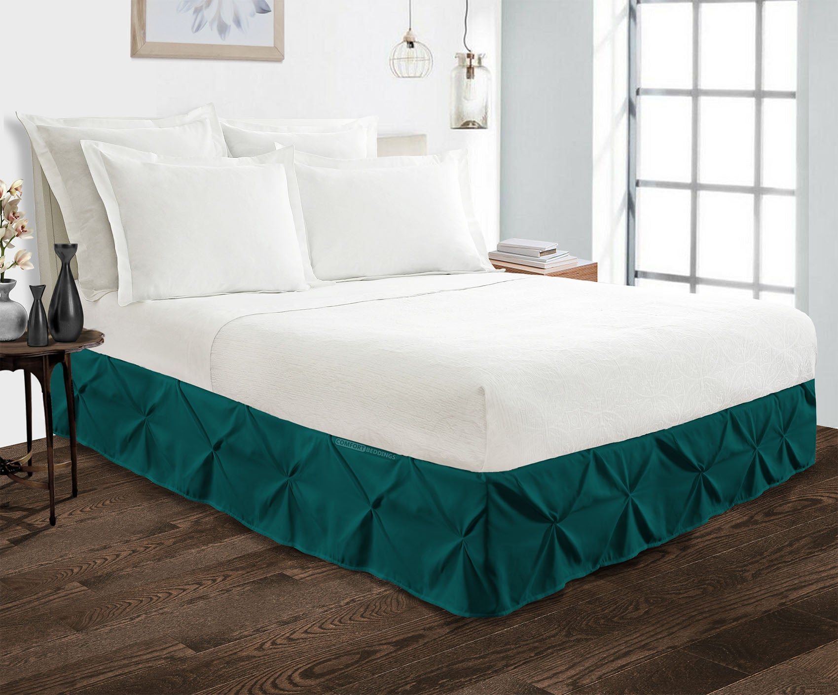 Elegant Teal pinch pleated bed skirt