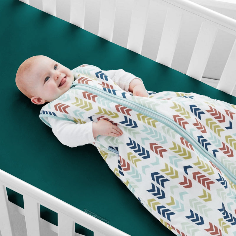 Soft Cotton Teal Fitted Crib Sheets - 1000TC