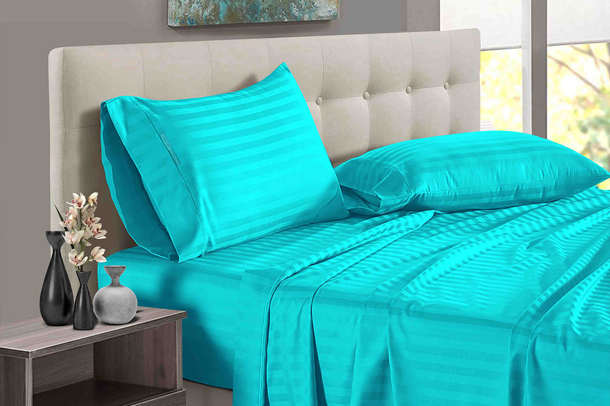 Egyptian Cotton Turquoise blue Stripe Split Sheet Set