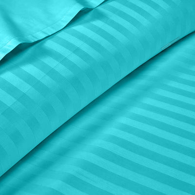 Egyptian Cotton Turquoise blue stripe Fitted Sheets
