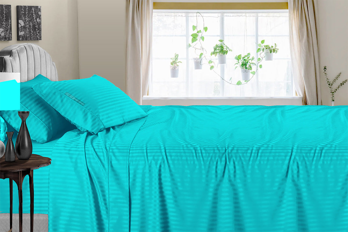 Affordable Turquoise Striped Sheet Set