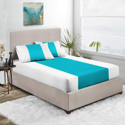 Turquoise - White Contrast Fitted Sheets