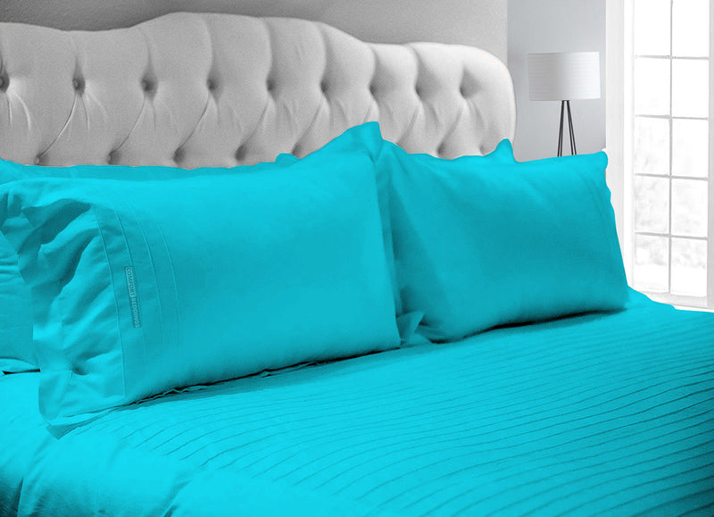 Luxurious Turquoise Blue 600 TC Moroccan Streak Duvet Cover