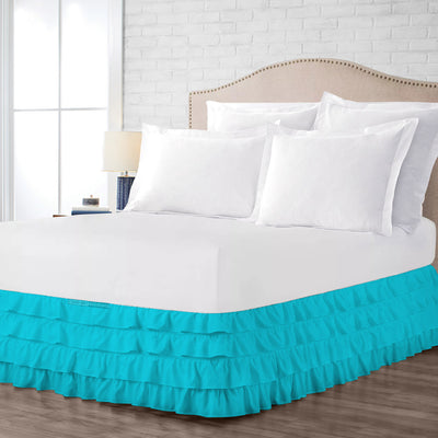 Egyptian cotton made Turquose Blue waterfall ruffled bed skirt