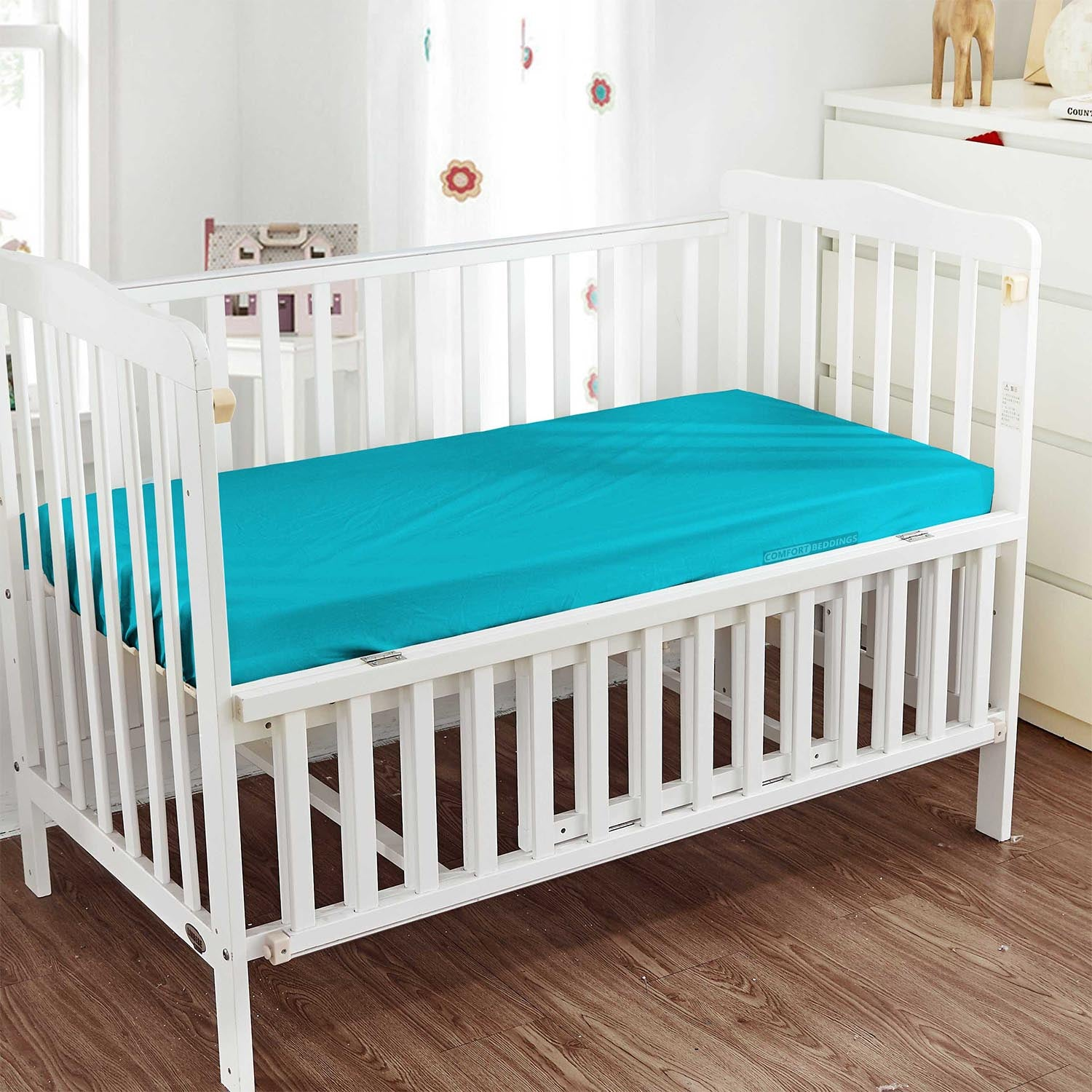600TC Egyptian Cotton Turquoise Blue Crib Fitted Sheets