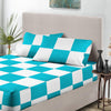 Turquoise - White Chex Fitted Sheets