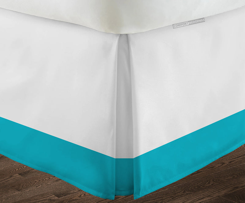 Luxurious Turquoise blue two tone bed skirt