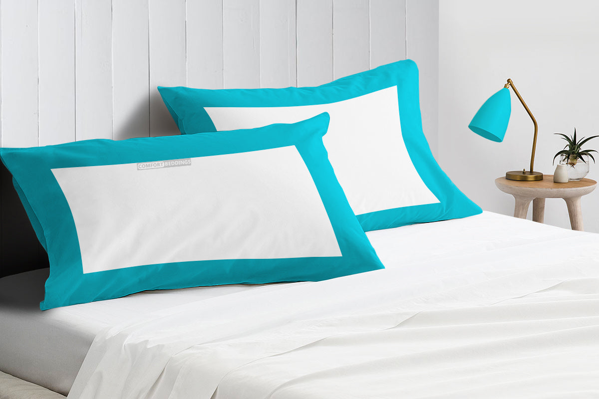 Luxurious turquoise blue - white two tone pillow cases