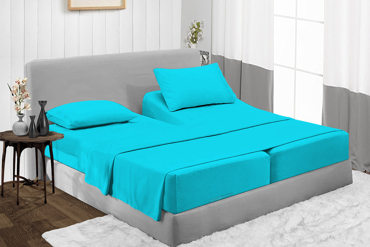 600TC Egyptian Cotton Turquoise Split Sheet