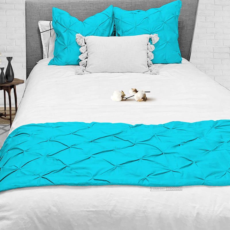 Luxury Turquoise Pinch Bed Runner