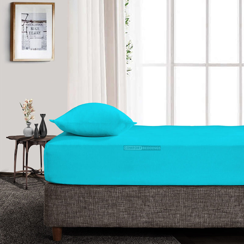 Best Egyptian Cotton Turquoise Fitted Sheet