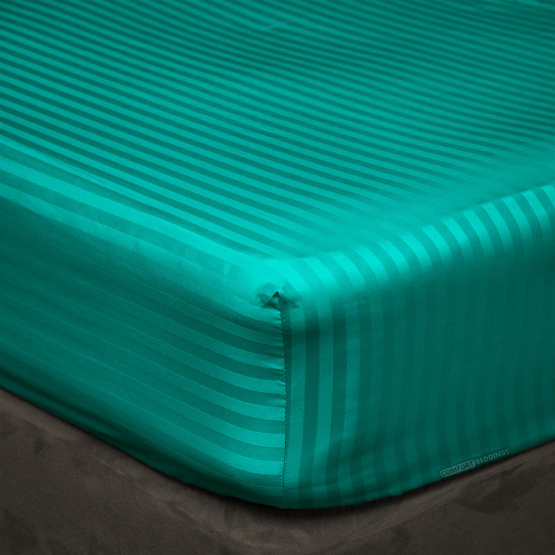 Turquoise green stripe Fitted Sheets - 600TC Egyptian Cotton