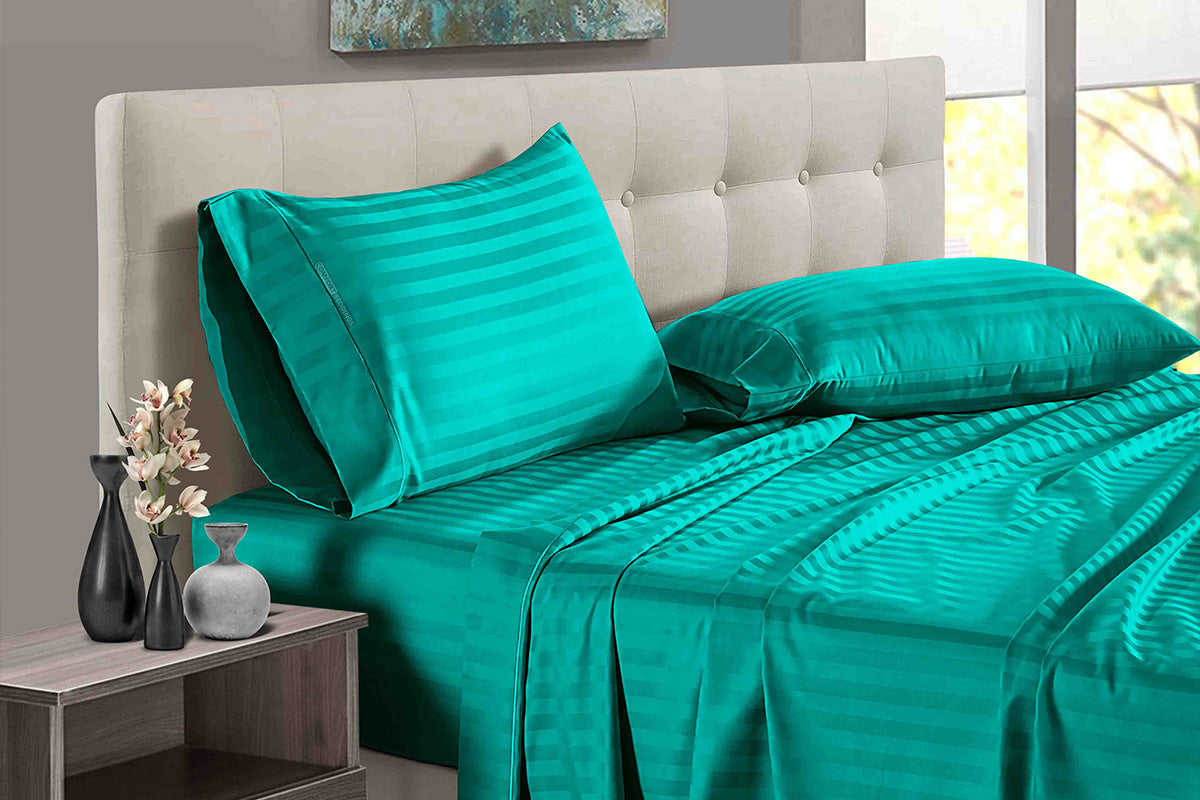 Easy Adjustable Turquoise green Stripe Split Bed Sheets
