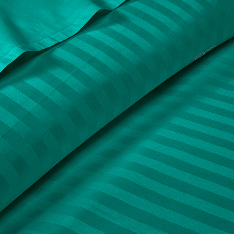 600TC Turquoise Green Striped Duvet Cover Set