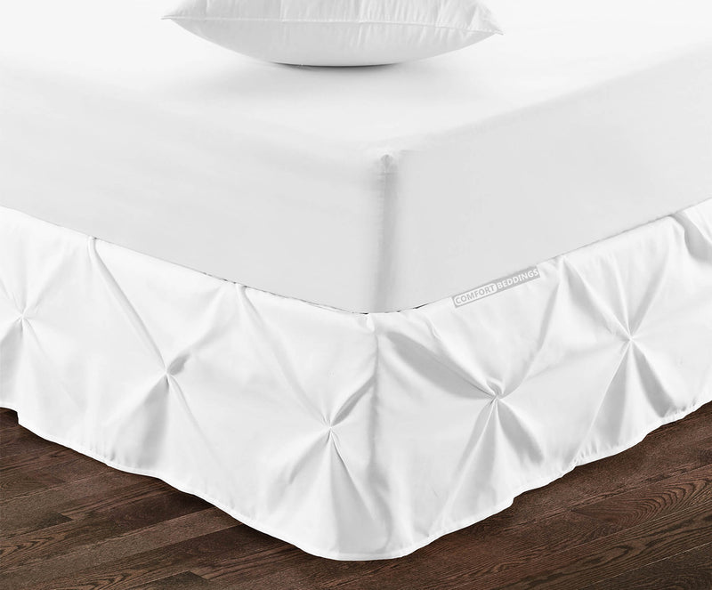 Luxury 1000TC white pinch pleated bed skirt