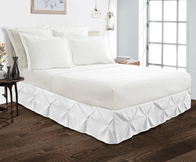 Luxury 600TC white pinch pleated bed skirt