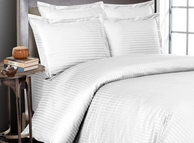 Luxury White Striped Bedding In a Bag
