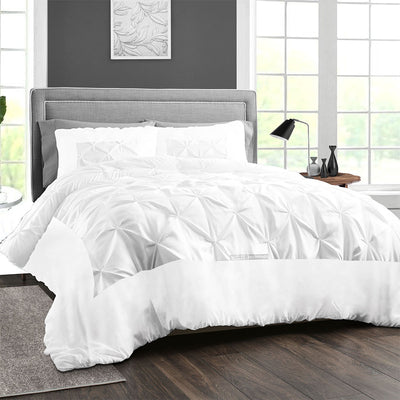 Rich 100% Cotton White Dual Tone Half Pinch Duvet Cover