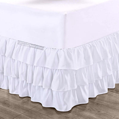 Luxury White Multi Ruffled Bed Skirt