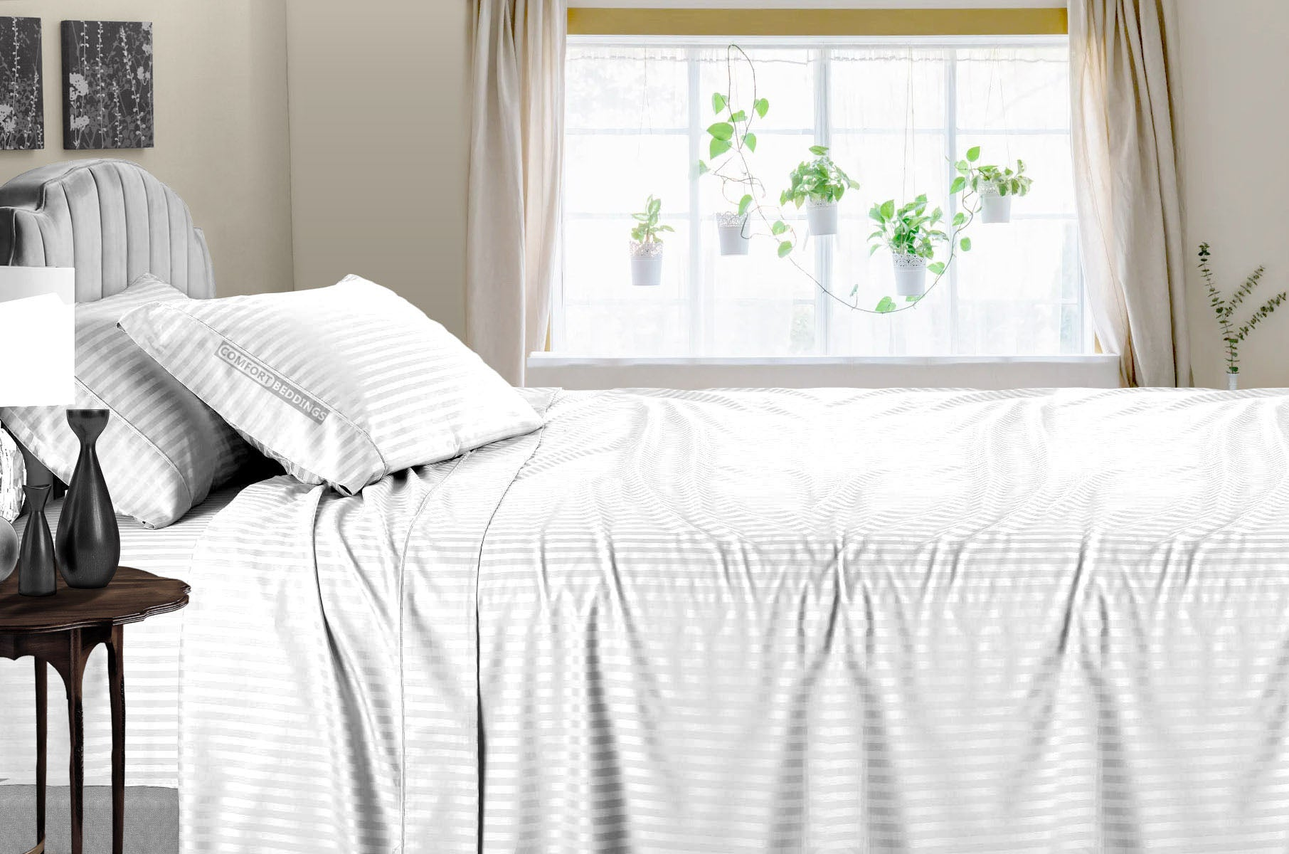 Luxury White Striped Sheet Set