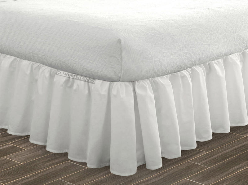 Luxury white ruffled bed skirt 100% Egyptian Cotton Made